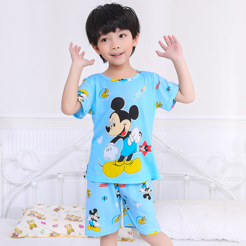 Children Short Sleeve Pajamas 2019 Summer Boy Girl Sleepwear Cartoon Baby Nightwear Child Gift Kids Lovely Pyjamas Set