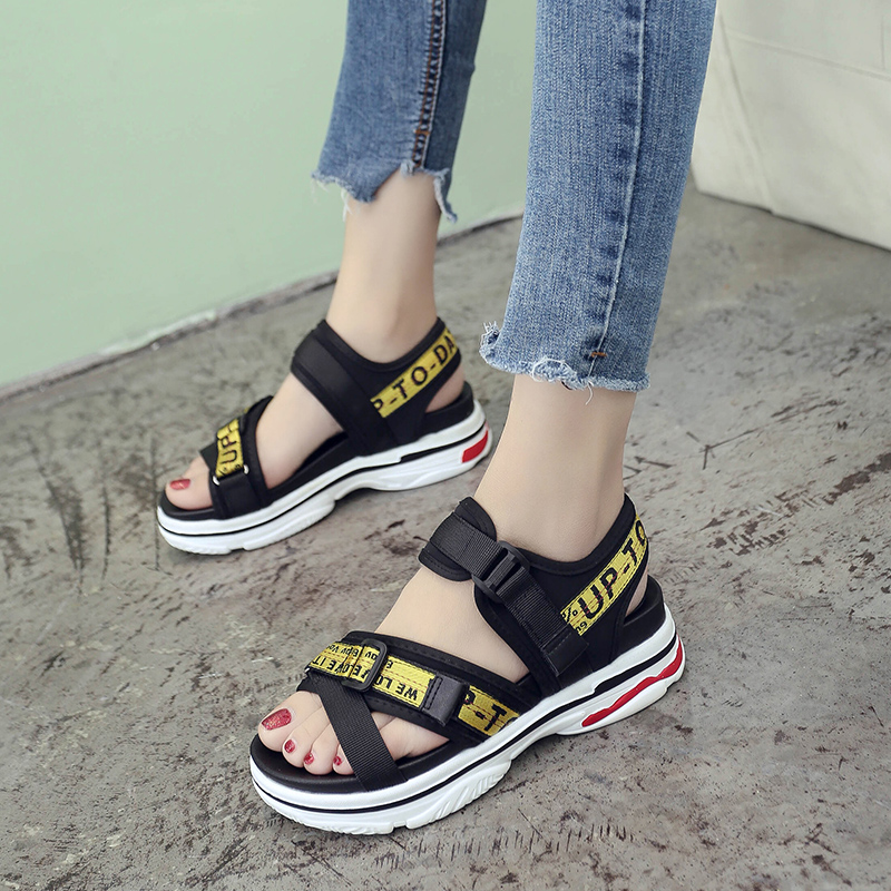 SWYIVY Lady Sandals Summer 2018 Strap Female Sandals Platform Rome Shoes Chic Cross Letter Lady Comfortable Casual Shoes Sandals lady sandals vietnam shoes leather sandals female sandals 2017 outdoor lovers casual summer sandals