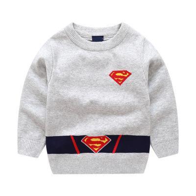 2018 Autumn New Children Superman Anime Baby Boys Sweaters Kids Pu