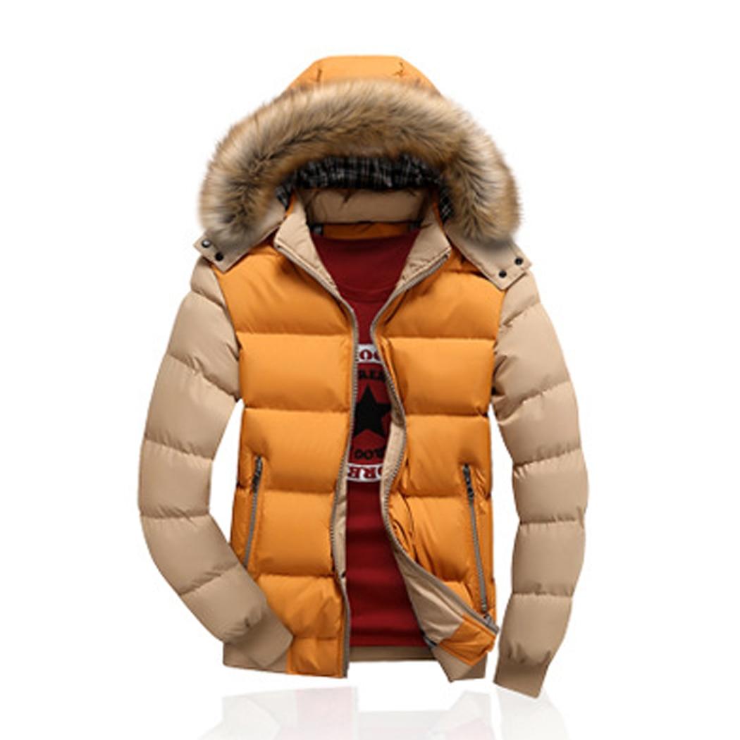 Бренд Для мужчин зимние Теплая парка Куртки Мода Съемная искусственного меховой воротник лоскутное ватные пальто с капюшоном Повседневное...