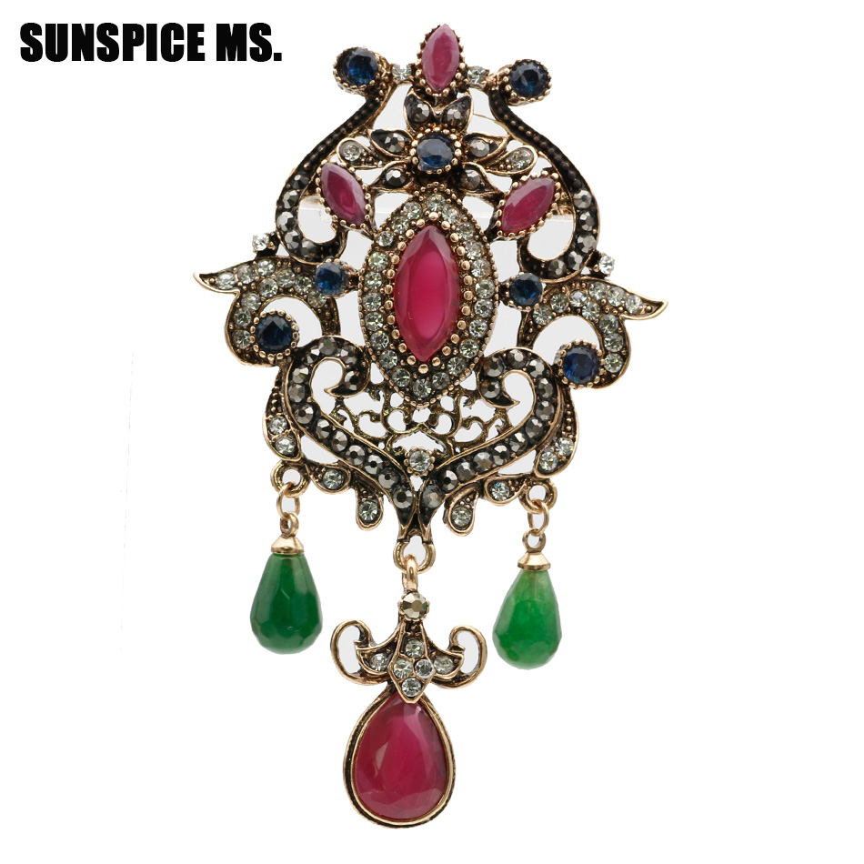 e5d1acfe396 Sunspice Ms Vintage Brooch Jewelry Elegant Design Unique Natural Stone  Turkish Women Antique Gold Color Resin Flower Corsage Pin