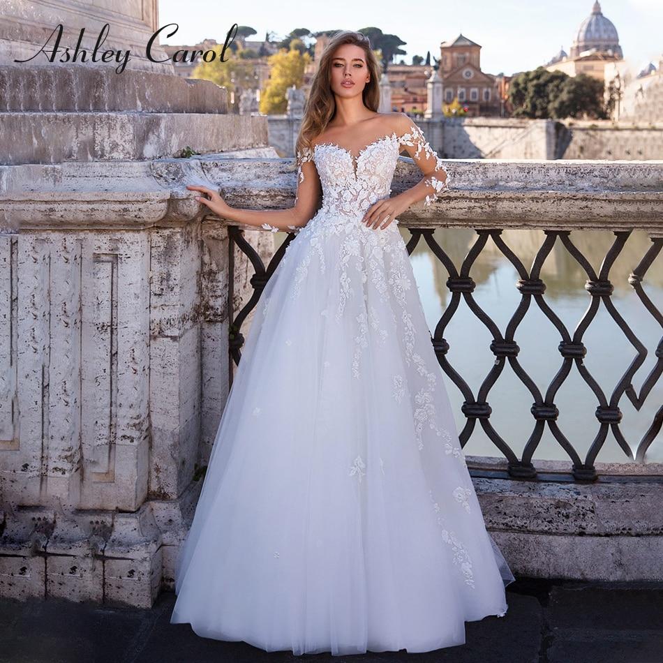 Ashley Carol Sexy Sweetheart Three Quarter Sleeve Illusion Back Wedding Dress 2019 Sweep Train Romantic Princess Wedding Gowns