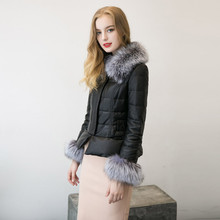 Woweile New Fashion Winter Women's Down Cotton Parka Fur Collar Zipper Coat Quilted Jacket Coat