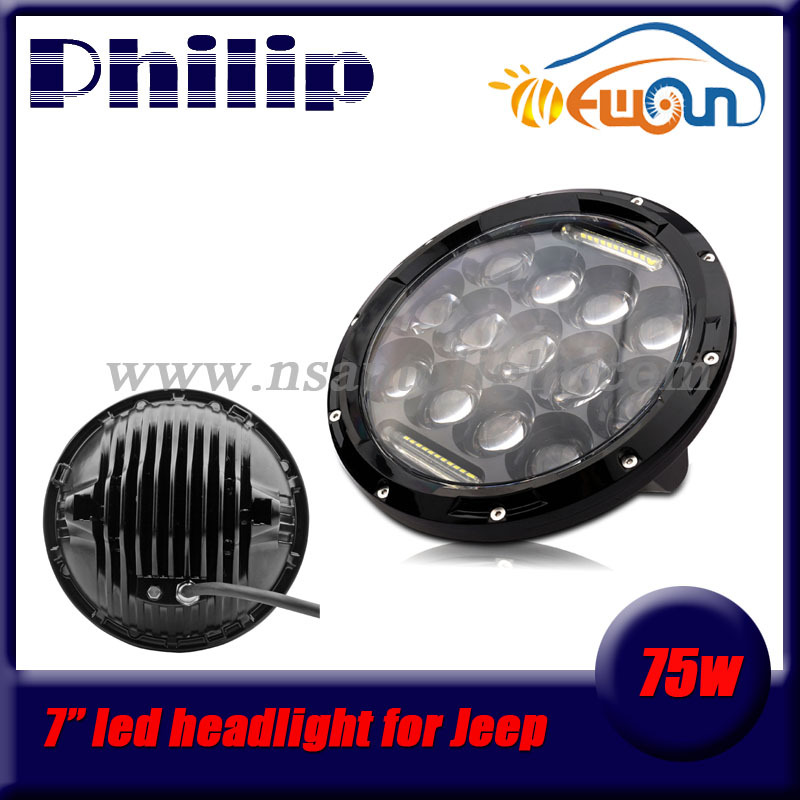 Professional High/Low 7 round 75w led headlight for JEEPS WRANGLER offroad truck SUV led work light phi lips led headlight lamp 7inch round 105w led projector headlight h4 drl high low beam yellow halo angel eyes for harley 07 15 wrangler