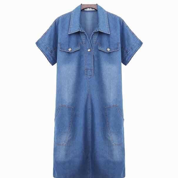 Высококачественное летнее джинсовое платье женская одежда 3XL женское джинсовое платье элегантные офисные ковбойские платья AH762
