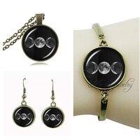 Triple Moon Goddess Pendant Vintage Triple Moon Jewelry Set Antique Bronze Chain Choker Necklace Bracelet Earring Wiccan Jewelry