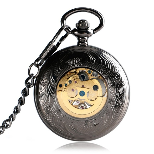Vintage Automatic Mechanical Pocket Watch Men Hollow Exquisite Chain Smooth Case Pendant Watches Mens Retro Black Hour Clock
