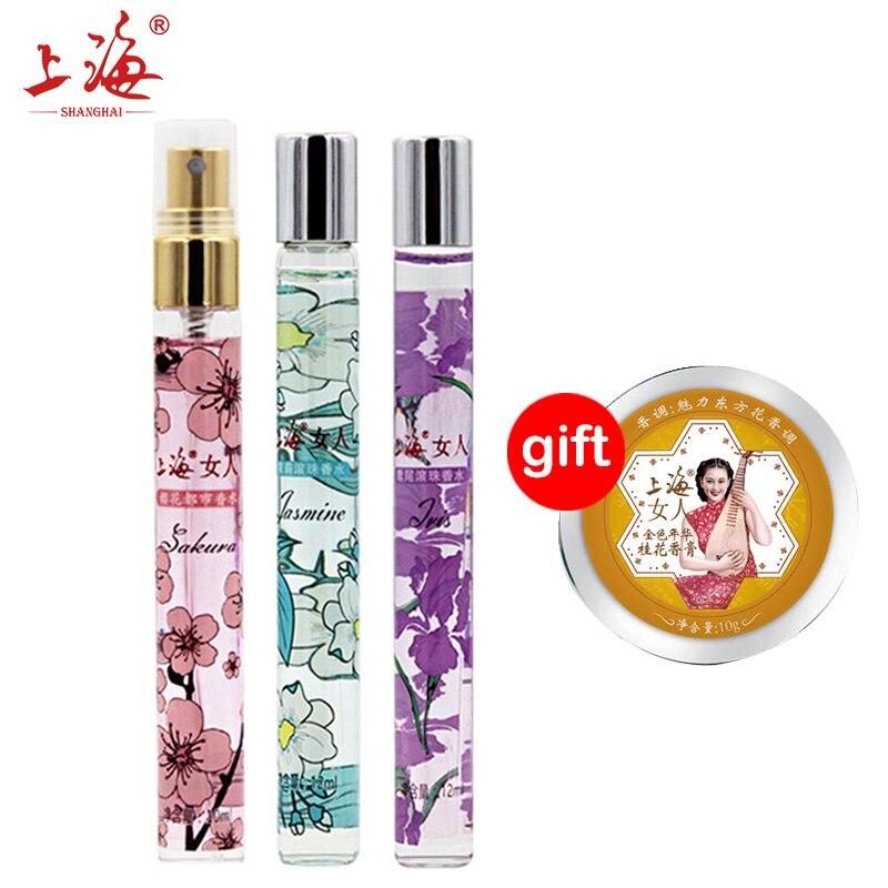 Kup 3 Get 1 Prezent SHANGHAI PIĘKNO cherry nowoczesne jaśmin perfumy/Osmantusa iris rolki perfumy stałe perfumy