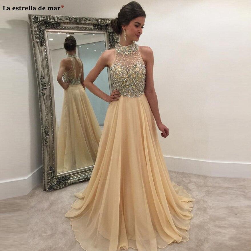 Vestido formatura2019 nouveau col haut en mousseline de soie cristal dos ouvert une ligne champagne robe de bal longue turque robe de soirée personnalisé