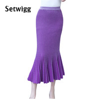 SETWIGG Womens Autumn Long Knit Mermaid Skirts Big Stretch Flounced Hem Bodycon Knitted Ankle Length Trumpet