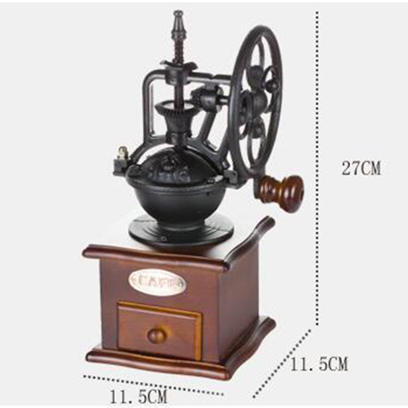 HOT Manual Coffee Grinder Antique Cast Iron Hand Crank Coffee Mill With Grind Settings & Catch Drawer