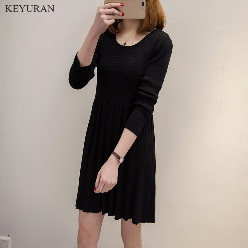 Spring Autumn New Women Knitted Dress Ladies O-neck Knitting Winter Casual Pleated Dresses Famale Clothing Plus Size 4XL L1788 2017 spring autumn women trousers new plus size stretch casual jeans elastic high waist fashion slim black pencil denim pants