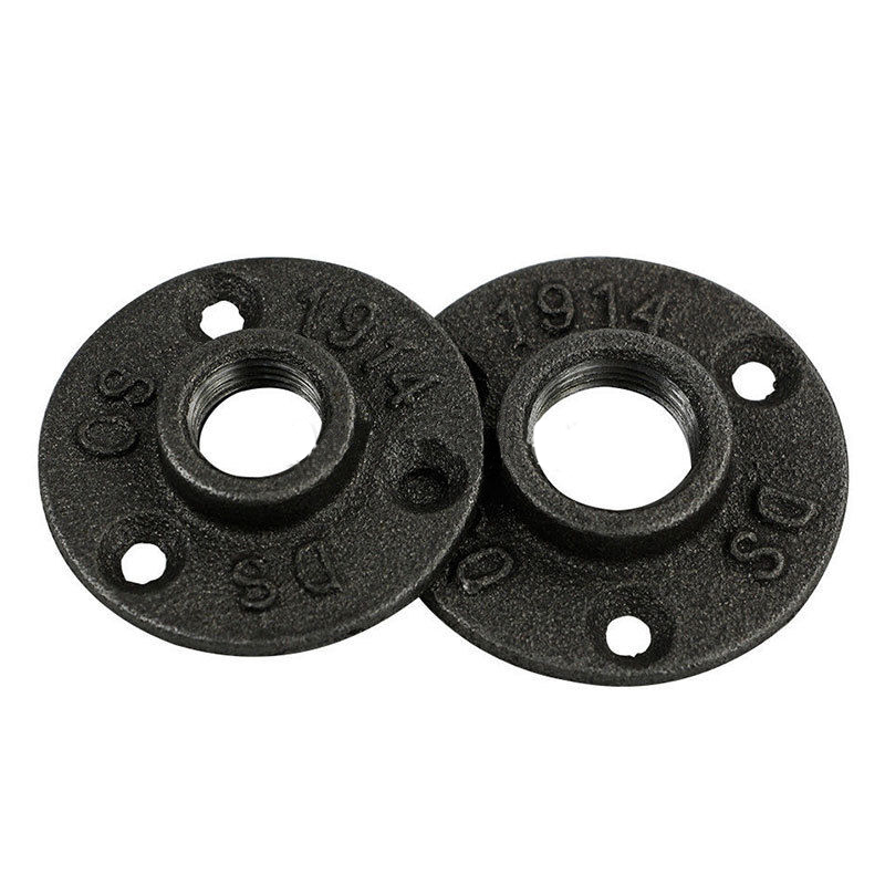 10Pcs 1/2 3/4 Cast Iron Flanges Exhaust Wall Mount Floor Flange Piece Thread BSP Malleable Iron Industrial Pipe Fittings