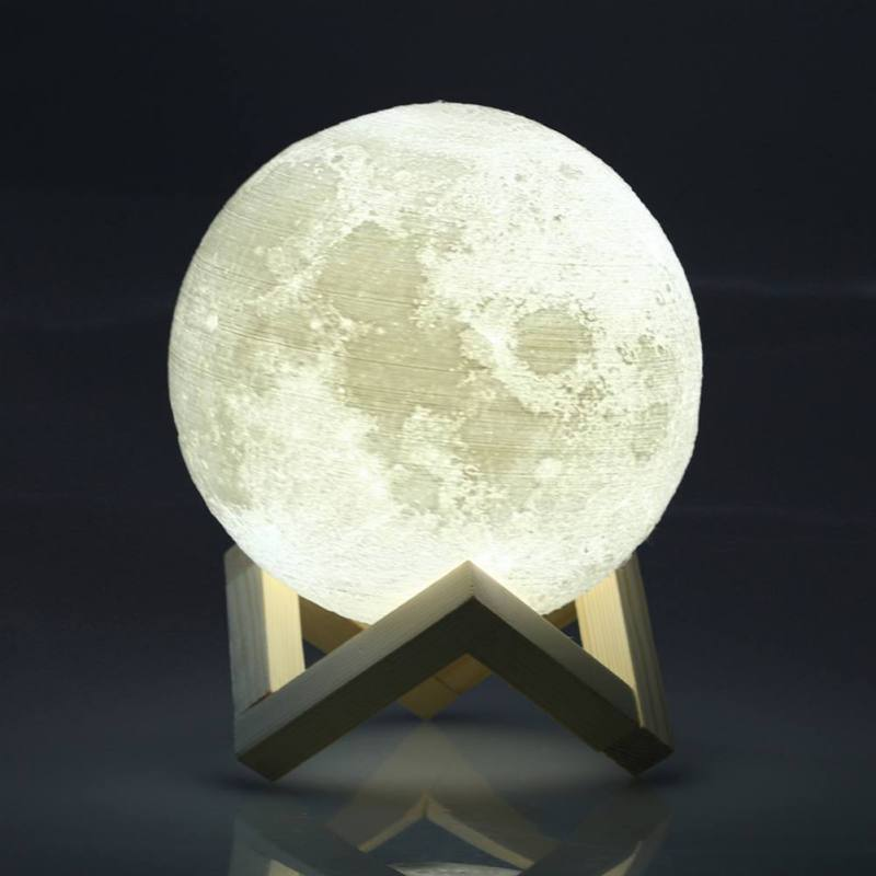 8-20cm 3D Print LED Magical Full Moon Night Light Touch Sensor Desk Moon Lamp USB Christmas Gift Color Changing Lunar Light image
