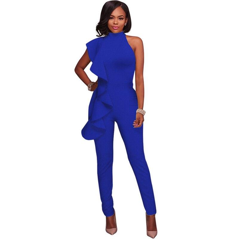 Women Plain Blue Black Jumpsuit Ruffles Sleeveless Sheath Bandage Rompers Party Night Clubwear Slim Sexy Bodycon Stretch Overall