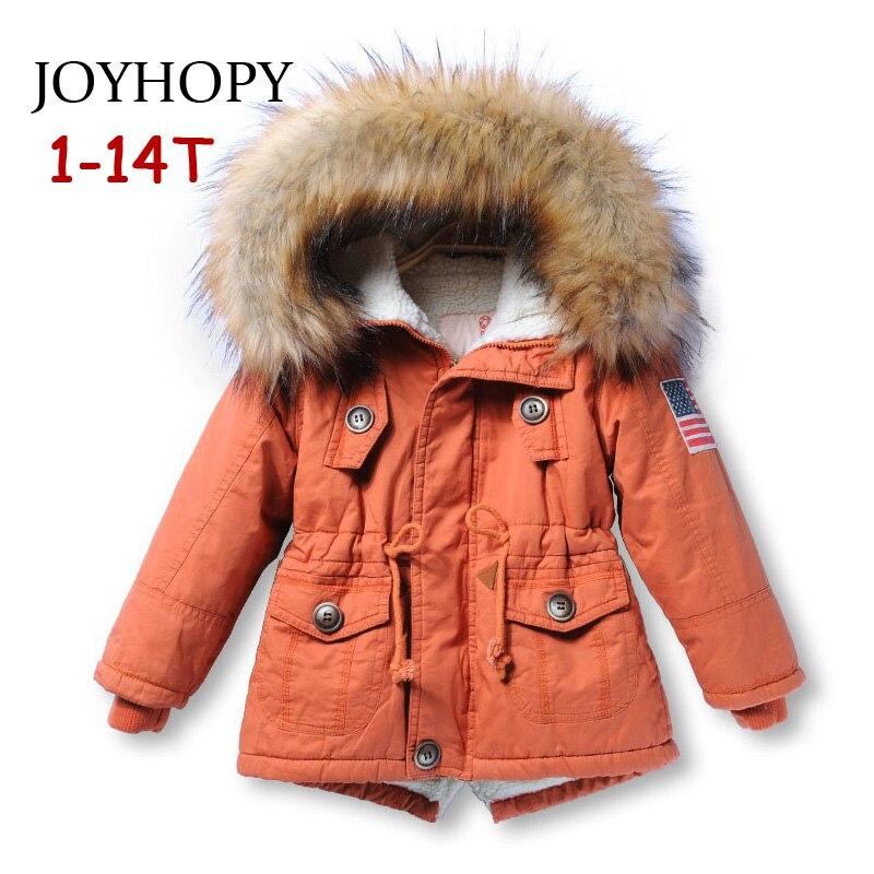 abb402075dfb Children jackets Girls Boys Coats Hooded Faux Fur Collar Thick ...