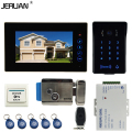 JERUAN Wired 7`` Touch key video doorphone intercom system kit waterproof touch key password keypad camera Electric control lock