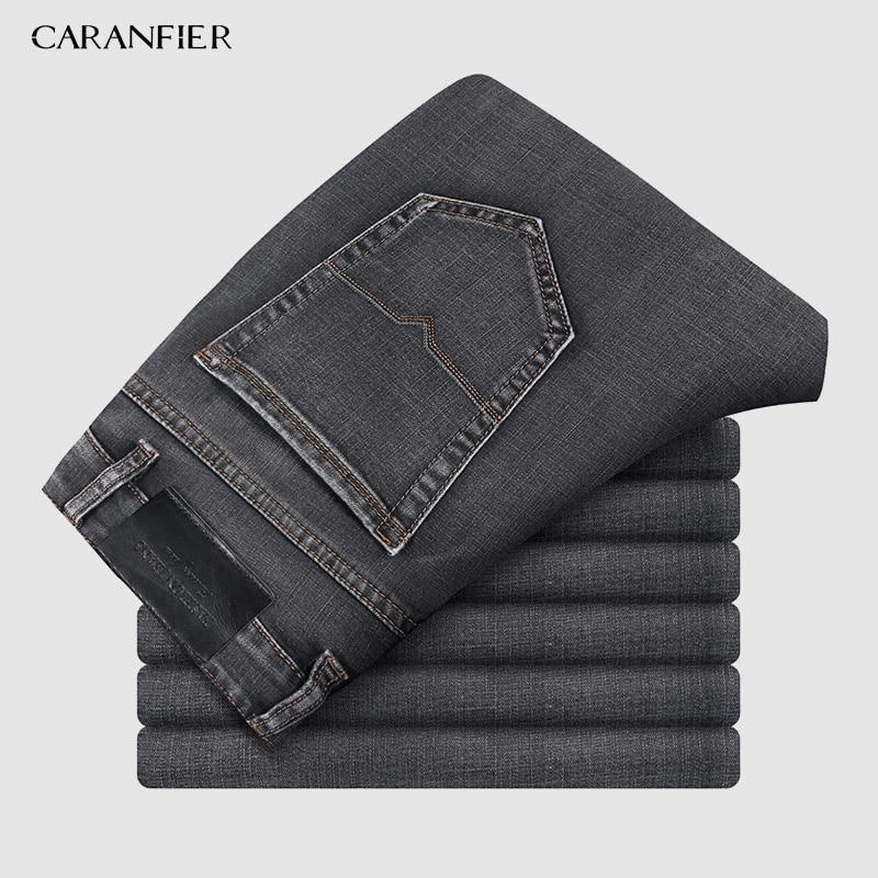 CARANFIER Mens Clothing Harlan Jeans 2019 Autumn New Big Pocket Gray Elastic Loose Denim Cargo Trousers Brand Plus Size 40 42 44