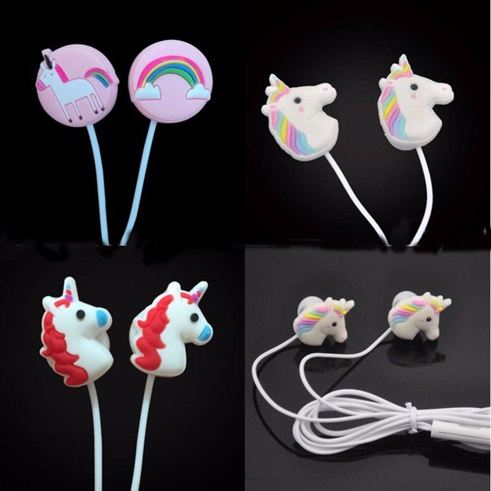 Cute Unicorns Cartoon Earphone Colorful Rainbow Horse In-ear Universal Earphones 3.5mm Mini Wired Earbud With MIC For XIAOMI