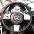 Volante cobre Caso para Mazda 2 couro genuíno DIY estilo do carro Anti-slip cobertura de volante de couro de costura
