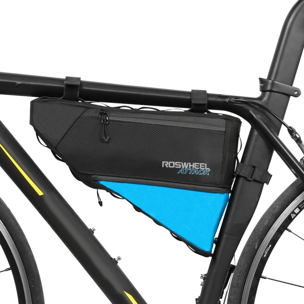 ROSWHEEL ATTACK Series Bicycle Bag Top Front Frame Tube Triangle Bag 4L 100% Waterproof Outdoor Bike Accessories coolchange waterproof bike bag frame front head top tube cycling bag double ipouch 6 2 inch touch screen bicycle bag accessories