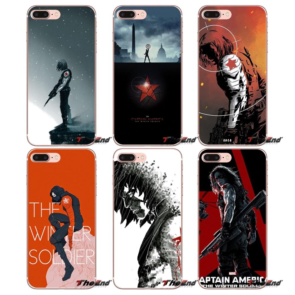 Transparent Soft Covers For Apple iPhone X 4 4S 5 5S SE 5C 6 6S 7 8 Plus 6sPlus 6Plus 7plus 8plus Captain America Winter Soldier