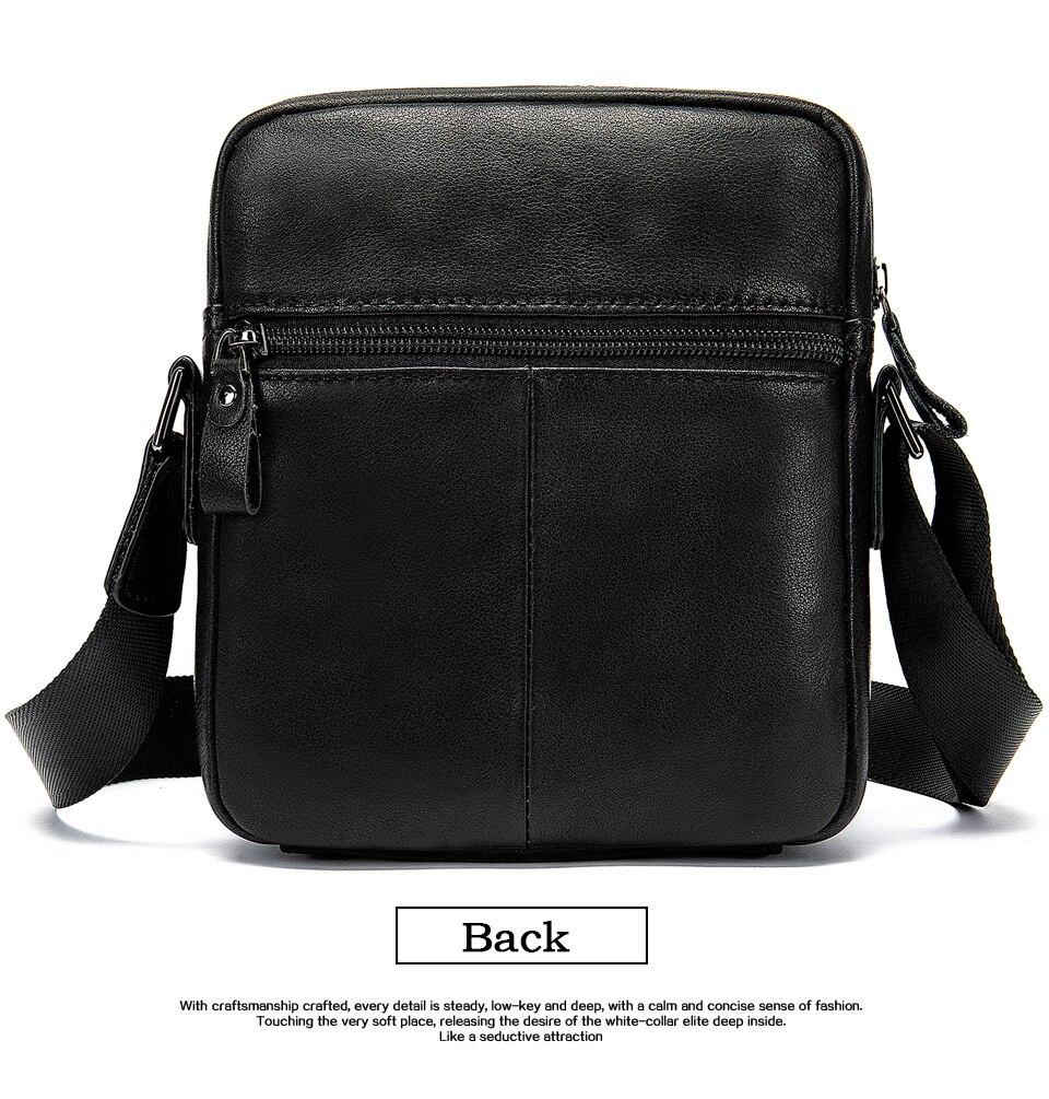 Men's Shoulder Bag for Men Crossbody Bags Genuine Leather Flap Small Male Bussiness Handbags with Zipper Messenger Bag 10