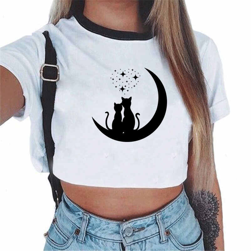 Korean Style Cute T Shirts Woman Gothic Cat Looking Out Side Moon Phase Printed Short Sleeve T-shirt Sexy Crop Top Women Casual