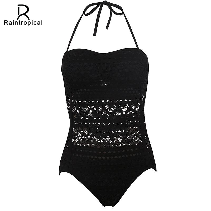 Raintropical One Piece Swimsuit Push Size Swimwear Women 2018 Sexy Beach Crochet Monokini Swimsuit Retro Bathing Suit Swim Wear
