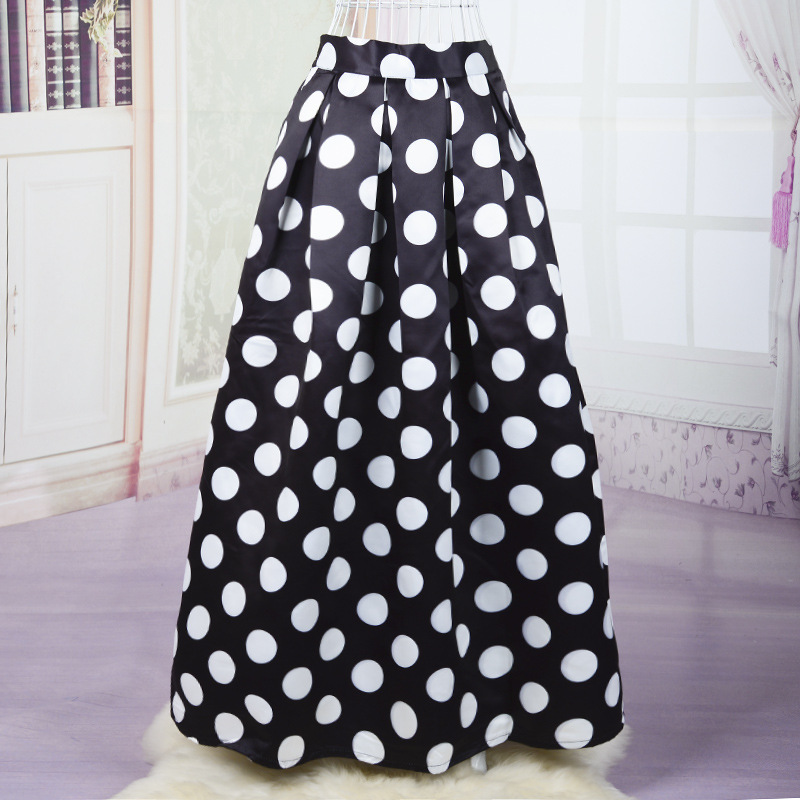 Popular Polka Dot Black and White Long Skirt-Buy Cheap Polka Dot ...
