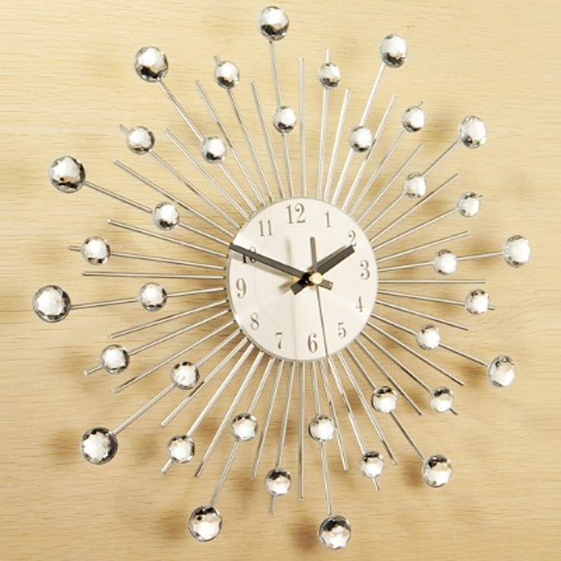 high quality about 325cm novelty diamond crystal jeweled beaded sunburst wall clock living room silver