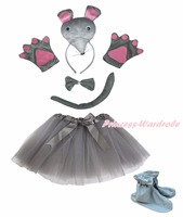 3D Mouse Hoofdband Bowtie Staart Handschoenen Schoenen Grey Tutu 6 st Meisje Kostuum Party