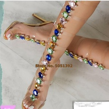 PVC Transparent Sandals Woman Shoes Open Toe High Heel Shoes Women Summer Party Gladiator Fashion Bling Bling Stiletto Boots bling bling crystal newest fashion women shoes cheap price hot selling new design ankle open toe sandals gladiator nude jeweled