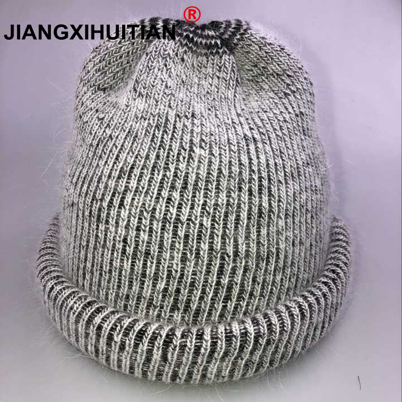 2018 new cute Knitting Real wool ball   skullies     beanies   Casual streetwear warm hat cap Women autumn winter   beanie   hat female