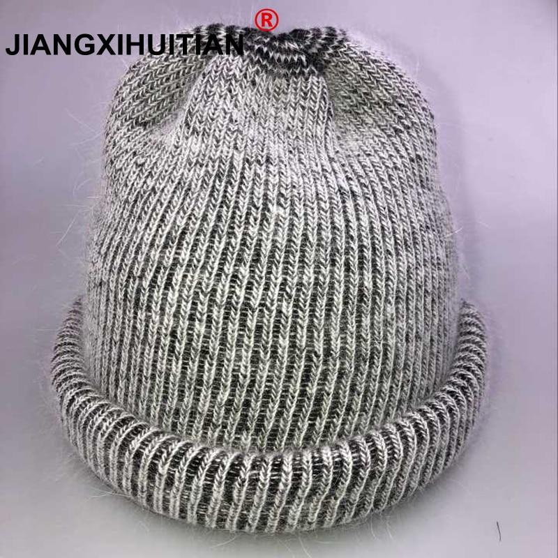 2018 new cute Knitting Real wool ball   skullies     beanies   Casual streetwear warm hat cap Women autumn winter   beanie   hat female