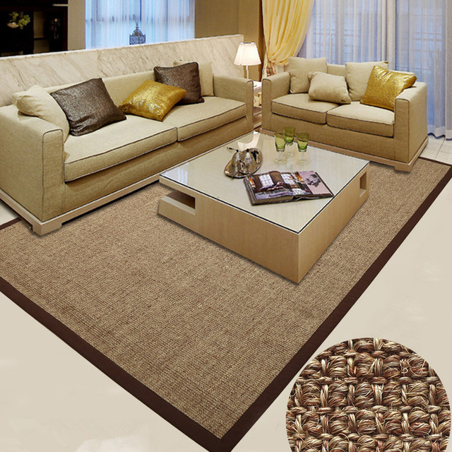 Living Room Large Rugs Design With Futon 150x200cm Big Carpet Latex Backing Sisal Japanese Style Modern Luxury And Mat For Home Bedroom