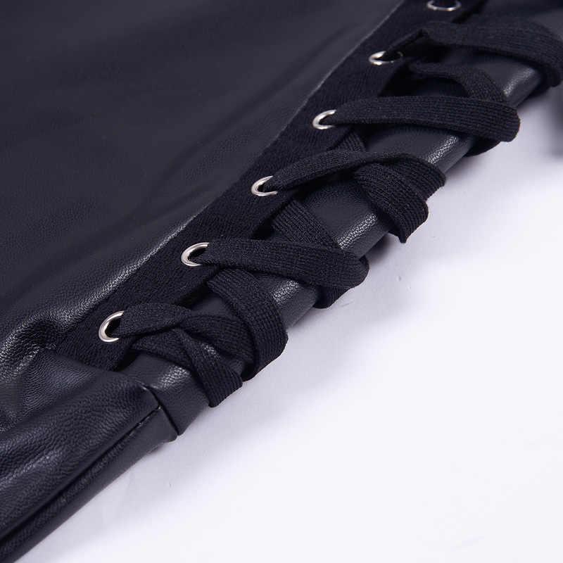 2018 женские сексуальные леггинсы из искусственной кожи с молнией сзади, с обеих сторон, со шнуровкой, леггинсы из искусственной кожи, матовые, с высокой талией, с пуш-ап, штаны из искусственной кожи