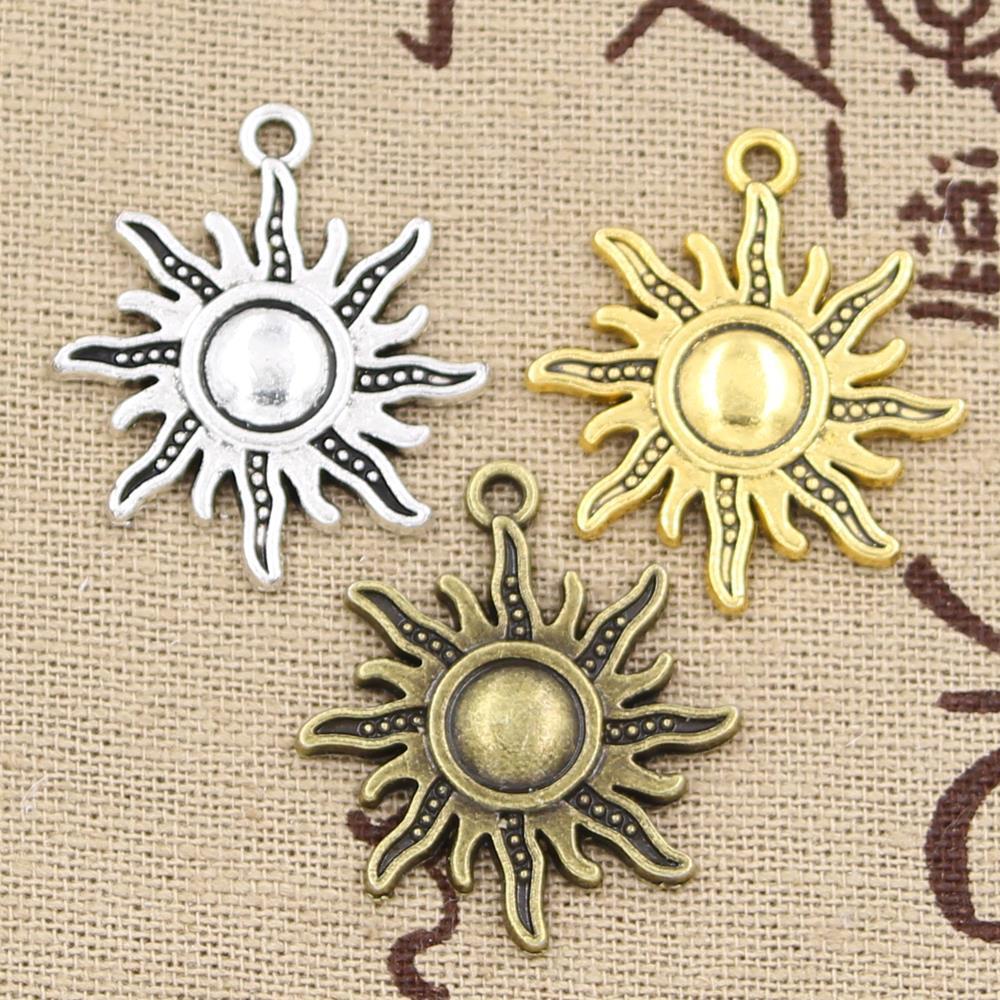 Tibetan Necklace Silver Sun Charm pendant jewelry fits charm bracelet