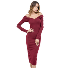 2018 Spring Dress Women Off Shoulder Slash Neck Long Sleeve Knitted Long  Dress Grey Red Mid-calf Casual Party Office Sexy Dress