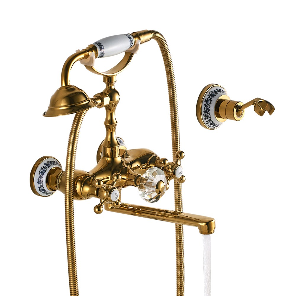 Luxury Golden porcelain bathroom faucet antique Brass vertical bathtub faucet shower set wall-mounted bathtub faucet