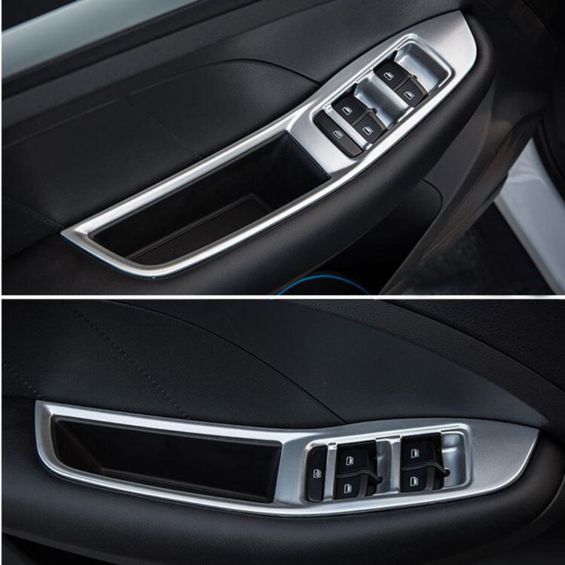4pcs/set Door handle Window Lift Switch Button Cover Bezel Trim Frame Fit for MG ZS 2017 2018 Left driving Car-Styling 4pcs set door window switch lift cover botton panel trim car styling for lexus nx200t nx300h decorate car covers accessories
