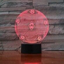 7 цветов Изменение 3D иллюзия Лампа футбол ночные огни 3D настольная лампа Luminaria Настольная лампа «футбольный мяч» для подарка вентилятора 3D-888