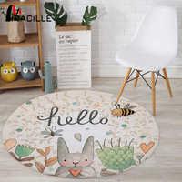 Miracille Cartoon Kaninchen Gedruckt Runde Teppich Für Wohnzimmer Computer Stuhl Bereich Teppich Kinder Spielen Zelt Boden Matte Garderobe Teppich