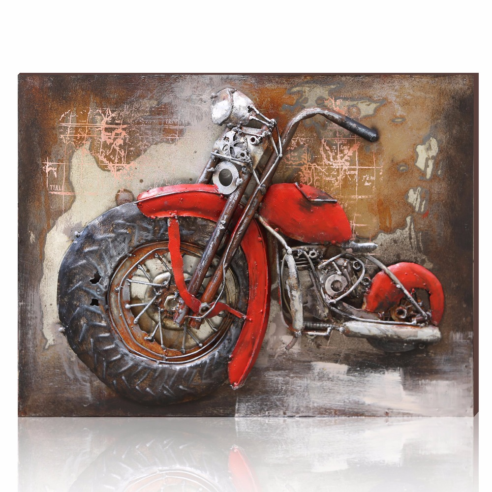 Aonbat vintage metal motorcycle painting original for Origine metal resinence