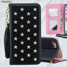 Luxury Leather Flip Case for Iphone Xs 11 pro MAX XR X 8 7 6s Plus Mirror Handmade Stars Rivet Wallet Book Cover Tassel Lanyard