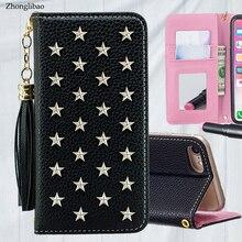 Étui pour iphone à rabat en cuir de luxe Xs 11 pro MAX XR X 8 7 6s Plus miroir à la main étoiles Rivet portefeuille couverture de livre lanière gland