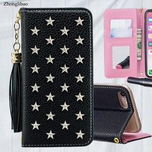 Image 1 - Étui pour iphone à rabat en cuir de luxe Xs 11 pro MAX XR X 8 7 6s Plus miroir à la main étoiles Rivet portefeuille couverture de livre lanière gland