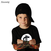 Niosung New Style Long Sleeve Tattoo Print T Shirt Tops Clothes For Infant Toddler Kids Baby