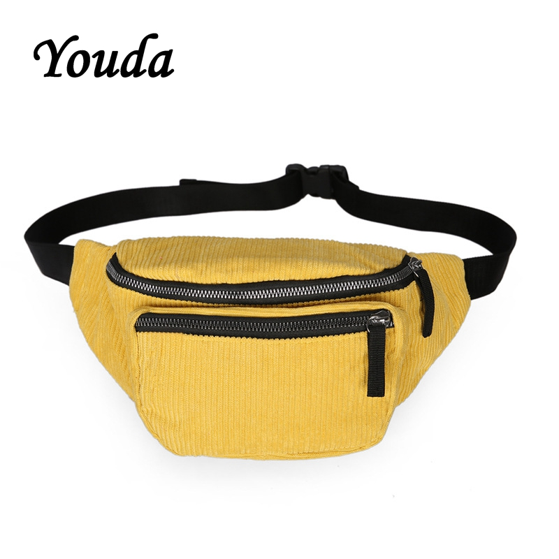 Youda Street Chest Bags Japanese Corduroy Girl Harajuku Pockets Retro Hong Kong Style Shoulder Bag Mobile Phone Storage Pouch