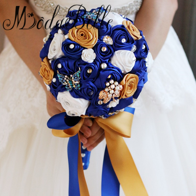 modabelle Handmade Roses White Royal Blue Bridal Bouquets Butterfly Brooch Wedding Bouquet Rhinestones Gold Ramo De Flores Novia